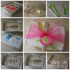 DIY dinosaur excavation kits -  I made these, super easy and fun, only difficult thing to find was the tiny dinosaur skeletons.