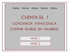 CUENTA SIL 1 CONCIENCIA FONOLÓGICA CONTAR SÍLABAS EN PALABRAS NIVEL 1