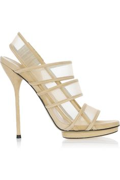 Heel measures approximately 140mm/ 5.5 inches with a 10mm/ 0.5 inch island platform Nude sheer mesh and suede Elasticated straps, almond toe Slip on