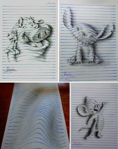 Begin by sketching the outline of an object and then ruling blue horizontal lines across the piece of paper, stopping at the edge of the object, simulating the lines on a page. Contour lines are drawn curving up and over the surface of the object, with tone added to help emphasize the form of the object.