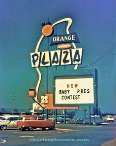 "Sign at the ""Orange County Plaza"", northwest corner of Chapman & Brookhurst, Garden Grove, Orange County, California. Photo from Charles Phoenix Facebook Page."