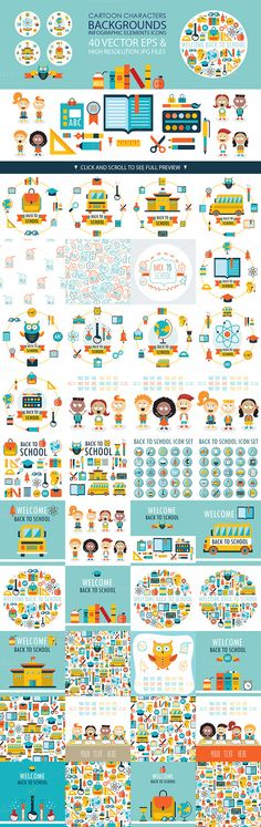 Back to school 40 vectors pack by Anttoniu on Creative Market