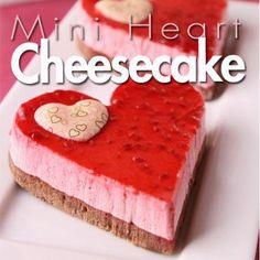 Mini heart cheesecakes, yes please!