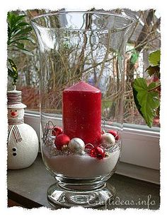 Christmas Hurricane Glass Centerpiece