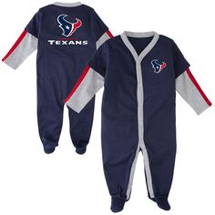 Houston Texans Newborn Long Sleeve Jersey Coverall - Navy Blue - $12.99
