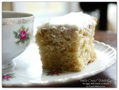 Vanilla Crazy Cake (also know as Wacky and Depression Cake) No Eggs, Milk, Butter or Bowls!  Super Moist & Delicious! | SweetLittleBluebird.com