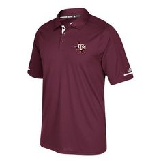 Adidas Men's Texas A&M University Climachill Polo Shirt (Red Dark, Size Medium) - NCAA Licensed Product, NCAA Men's Jersey/Polos at Academy Sports