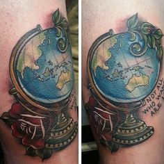 World globe tattoo. Not all who wander are lost. Insta: @sophielewistattoos