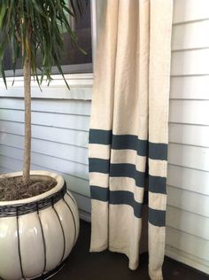 Top 10 DIY Curtains Projects- drop cloth with a little stripe detail. loving that idea!