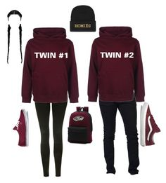 """""""twins"""" by elainia on Polyvore featuring Topshop, Dsquared2, Vans and Brian Lichtenberg"""