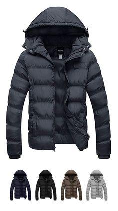 Springrain Mens Casual Detachable Hood Mid-Long Thicken Sherpa-Lining Jacket Coats