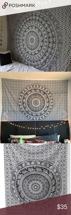 Black and White Elephant Mandala Tapestry New! Large, twin bed sized (6 feet and 10 inches by 4 feet 7 inches). Not from urban outfitters, just a very similar style to their home wares so I marked as such for exposure  ⚜️I love receiving offers through the offer button!⚜️ Brand new! (the one you'd get is brand new, the pictures are of mine which has little holes through it now from being hung up lol, the one I send out will be new and unused!) Urban Outfitters Accessories