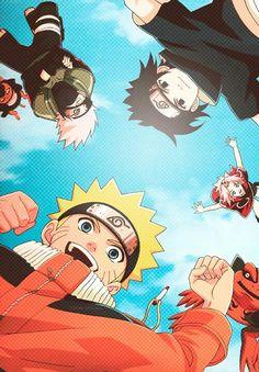 Naruto, Kakashi, Pakkun, Sakura e Sasuke - Time 7