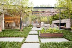 steel and wood patio pergola