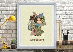 Germany Map, Germany Print, Map Of Germany, German Gift, German Poster, German Art, German Decor, Geometric Art Print, German Travel Art AVAILABLE @ $15