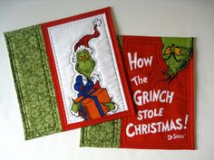 Grinch Quilted Mug Rugs Dr Suess Set of 2 by SallyManke on Etsy Grinch Who Stole Christmas, Christmas Snowman, Christmas Holidays, Christmas Ideas, Embroidery Applique, Machine Embroidery, Sewing Crafts, Sewing Projects, Rug Doctor