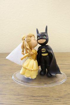 Belle (Light Brown Hair) and Batman Cake Topper. Wedding Cake Topper. Belle & Batman. by PlayCraft on Etsy https://www.etsy.com/listing/466652411/belle-light-brown-hair-and-batman-cake