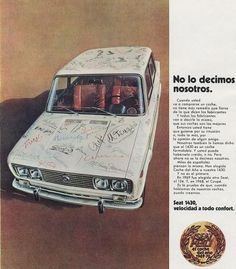 Seat 1430, Car Brochure, Fiat Abarth, Steyr, Vintage Ads, Car Seats, Spanish, Nostalgia, Bmw