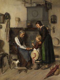 Ferdinand Georg Waldmüller. Großmutter mit drei Enkelkindern