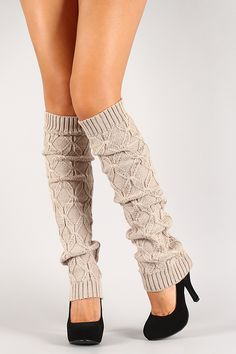 Featuring a woven knit fabric and ribbed edges. Crochet Socks, Knitting Socks, Fashion Shoes, Fashion Accessories, Knit Leg Warmers, Crochet Squares, Diy For Girls, Fall Winter Outfits, Knitted Fabric