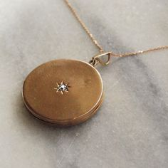 Victorian 'Galaxy' 9ct Rose Gold Locket with Old Cut Diamond