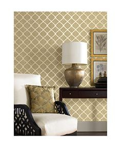 """www.myhabit.com  Add a cosmopolitan look to walls with this chic quatrefoil print donned in a sparkling golden sheen; unpasted, 5.22"""" repeat, straight match, washable, strippable; covers approximately 56 sq. ft./over 5' of wall with 9' ceilings"""