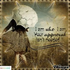 I am who I am. Your approval isn't needed.