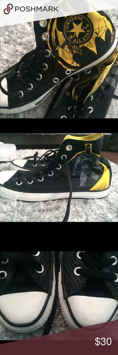 Converse DC limited edition Batman high tops. Converse all star high top DC comics batman limited edition sneakers. Worn a handful of times. Small yellow scuff on the front. Great condition. Converse Shoes Sneakers