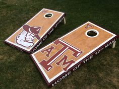 Texas A&M Stained Cornhole boards custom made from http://allcornhole.com