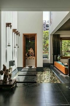 Home Decoration Ideas On A Budget Gallery of Skewed House / Studio Lagom - 26 Indian Home Design, Temple Design For Home, Home Temple, Indian Home Interior, Indian Home Decor, Indian Interiors, Indian Room, Wood Interiors, House Interiors