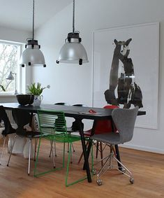 """Sneak Peek: Johanne and Palle Bruun Rasmussen's Aarhus home. """"The big bear is by Sarah Maycock, a 23-year-old artist from London. I just came across her and instantly fell in love with her work. I bought the AJ 3117 office chair (by Arne Jacobsen) in Berlin on a study trip when I was 19. I used all my money for the trip on that chair, and my fellow students probably thought I was crazy. Today an original model like this is pretty rare."""" #sneakpeek"""