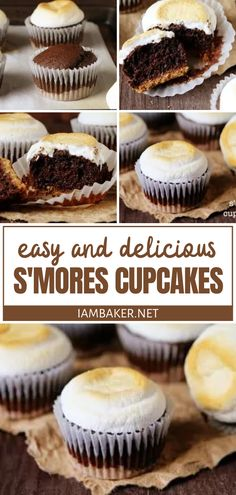 Share some S' mores Cupcakes on warm summer evenings with your family and friends! Nothing is more comforting than melting marshmallows between a rich chocolate cake and graham crackers. Enjoy the fun and delicious flavors of the season in this easy dessert recipe! Homemade Cupcake Recipes, Easy Cake Recipes, Best Dessert Recipes, Cheesecake Recipes, Sweet Recipes, Summer Cupcake Recipes, Vegan Recipes, Köstliche Desserts, Summer Desserts