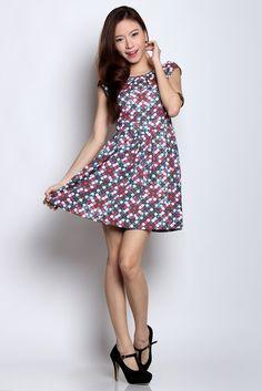 Wisteria — Natalie Checkered Print Dress SGD $32