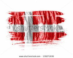 Denmark. Danish flag painted with watercolor on wet white paper by Aleksey Klints, via Shutterstock