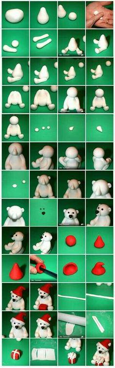 4 tutorials and SUPER TIPS! Fimo or salt dough! 4 tutorials and SUPER TIPS! Fimo or salt dough! Fondant Animals, Clay Animals, Fondant Figures, Clay Figures, Cake Fondant, Fondant Olaf, Cute Polar Bear, Polar Bears, Teddy Bear