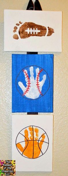 Baseball, football, basketball sports themed art project for kids Great handprint crafts for home, preschool, or daycare Makes a great father's day gift Dad will love the home made picture! is part of Vbs crafts - Vbs Crafts, Daycare Crafts, Toddler Crafts, Crafts To Do, Preschool Crafts, Crafts For Kids, Arts And Crafts, Kids Sports Crafts, Football Crafts