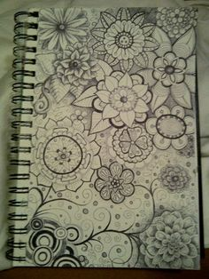 Flower doodles - try with HB pencil and overlapped with Black fineliner