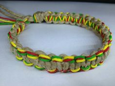 Square knot hemp bracelet Rasta colours *use black instead of natural* (image only)