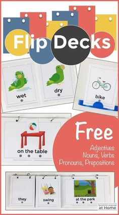 Speech and Language Therapy ideas. So many ways to use these vocabulary cards. A FREE sample of my Flip Deck cards.