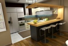 G shaped kitchen is the advancement of U shaped kitchen layout with more spacious workspace and storage while comfort when doing kitchen works is also well provided Kitchen Bar Design, Best Kitchen Designs, Interior Design Kitchen, Interior Paint, Interior Ideas, Bar Counter Design, Pantry Design, Interior Office, Design Bathroom