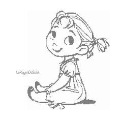Cross stitch pattern Anna childhood from Frozen door LeRayonDeSoleil