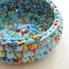 sheet #upcycled to bowl - crochet by nelda