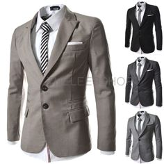 Men Two Button Suit Blazers Slim Fit Single Breasted Casual Business Jackets RJK #Unbranded #TwoButton