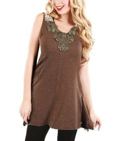 Another great find on #zulily! Brown Embellished Sleeveless Tunic by Lily #zulilyfinds