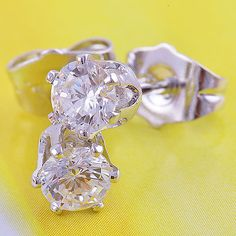 9k White Gold Filled Clear CZ Hypo-Allergenic Stud Pierced Earrings 17mm #Stud