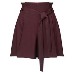 BuyMiss Selfridge Paper Bag Shorts, Wine, 6 Online at johnlewis.com
