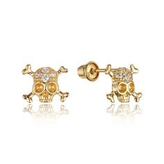 c50935f5b Children Earrings by Lovearing 14k Yellow Gold Skull Cubic Zirconia  Children Screwback Baby Girls Stud Earrings