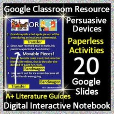 #TpTtech Paperless Resource - PERSUASIVE DEVICES - INTERACTIVE ACTIVITIES PAPERLESS DIGITAL NOTEBOOK FOR GOOGLE DRIVE AND GOOGLE CLASSROOM. Educational Technology and Mobile Learning Great for Google Drive, Google Classroom, Microsoft OneDrive, iPads, or