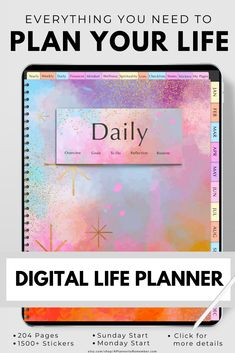 Stay organized each day with this digital planner for iPads, tablets, Goodnotes, Notability, Noteshelf and other annotation apps Goals Planner, Planner Pages, Life Planner, Life Skills, Life Lessons, Life Tips, Life Hacks, All About Vision, Evening Meditation