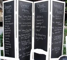 Chalkboard Folding Screen.  For ideas on how to decorate with a folding screen, go to http://decoratingfiles.com/2012/08/folding-screen/